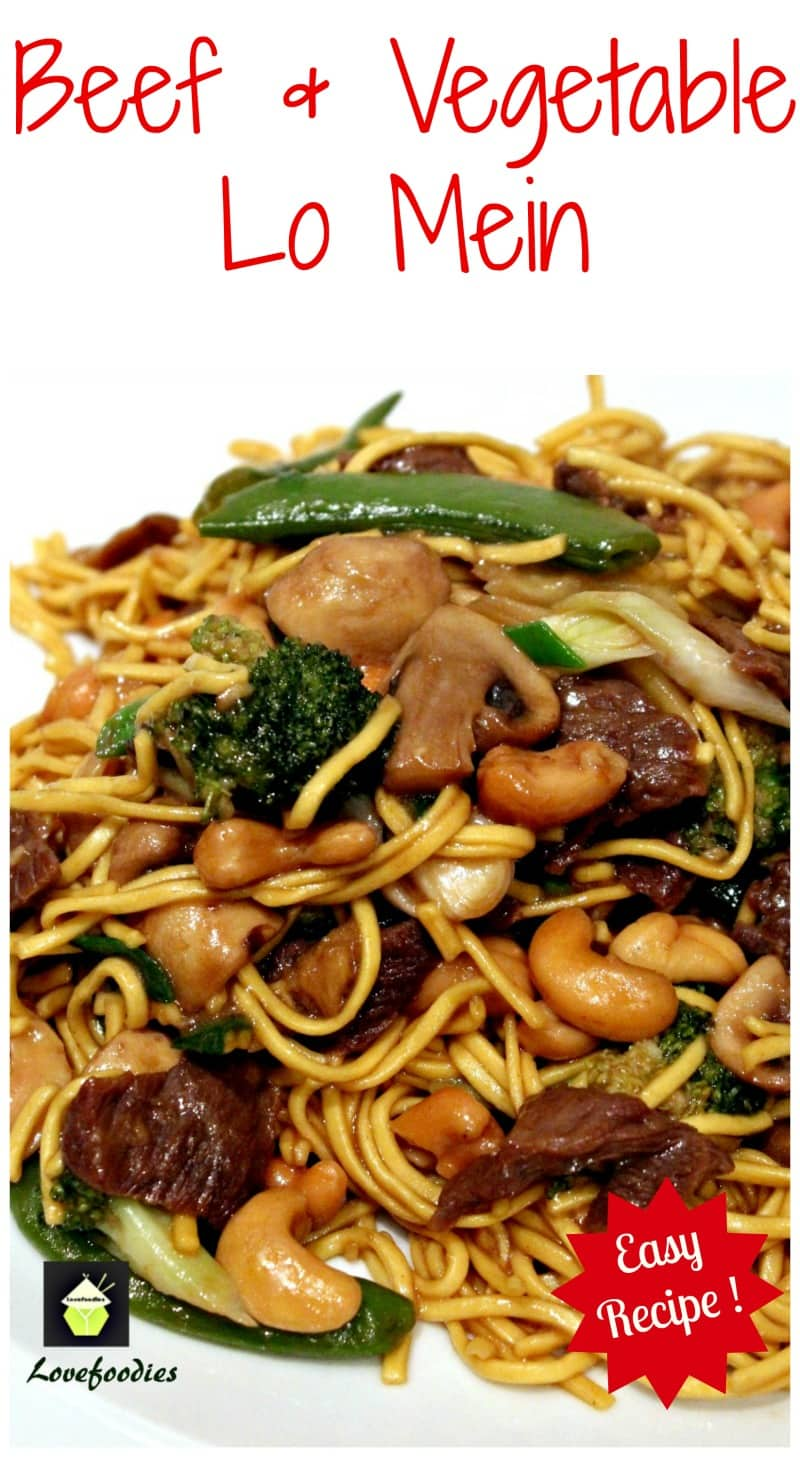Beef and Vegetable Lo Mein. A quick and easy Chinese favorite with great flavors!