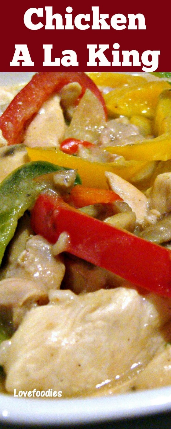 Chicken A La King - A wonderful creamy chicken dinner with flavors out of this world! The chicken is lovely and tender, and together with the peppers and mushrooms in a wonderful cream sauce, this is perfect served with rice or pasta. Really tasty!| Lovefoodies.com