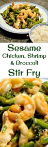 Sesame Chicken, Shrimp and Broccoli Stir Fry is a really quick and easy meal, delicious served with rice or noodles! This works well as an appetizer or main meal. You choose!