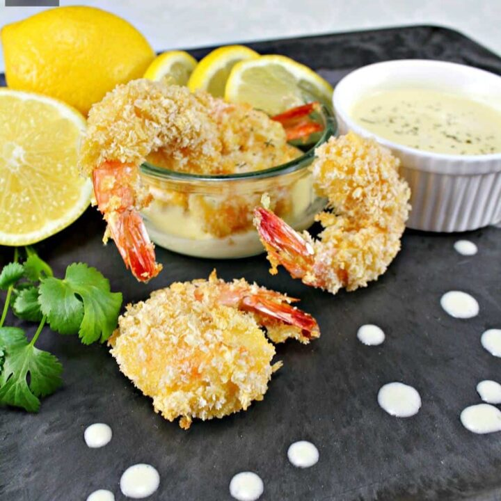 Crispy Breaded Shrimp. An incredible easy and quick recipe, serve as a starter or as party food. Oh so good! No frying either!