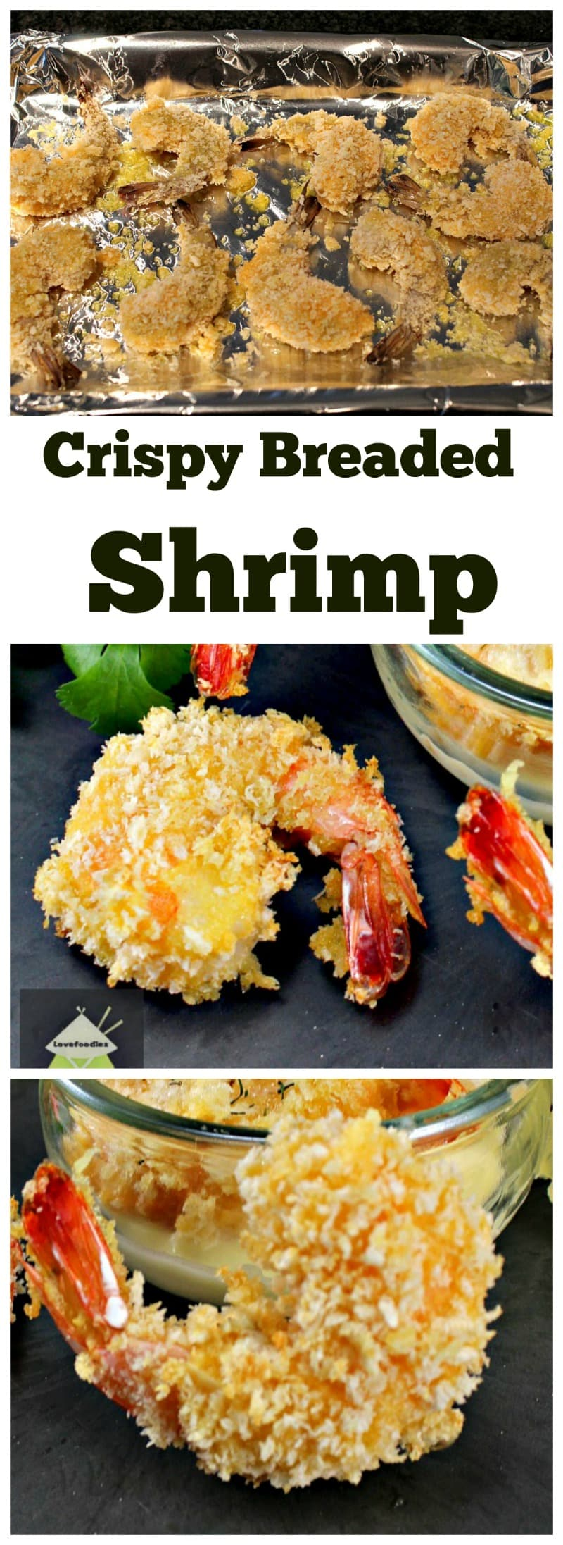 Crispy Breaded Shrimp. A fuss free, easy and quick recipe, serve as a starter or as party food. Oh so good! No frying either! Popular on Game Days too because they are so quick and easy to prepare. | Lovefoodies.com