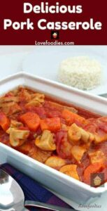 Delicious Tomato and Pork Casserole, tender pork, carrots and mushrooms in a fresh tomato sauce, all cooked in one pan on the stove top, multicooker or oven.