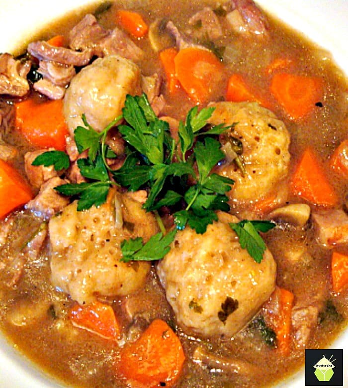 Grandma's Meat and Dumpling Casserole. Crock Pot or Oven, you choose! All fresh ingredients and so delicious!
