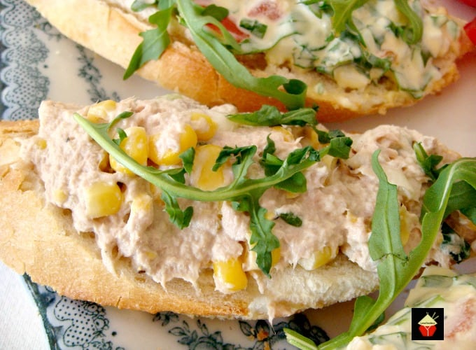 Easy Open Sandwiches with a variety of 2 delicious filling recipes, Egg and Bacon filling and Tuna and Sweetcorn. Both delicious and great for parties and picnics too!