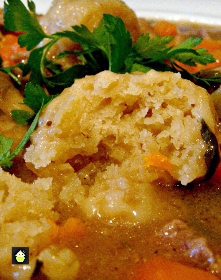Crock Pot or Oven - you choose. Meat & Dumpling Casserole! It uses all fresh ingredients and check out those dumplings! Yummy fluffy bites of heaven!