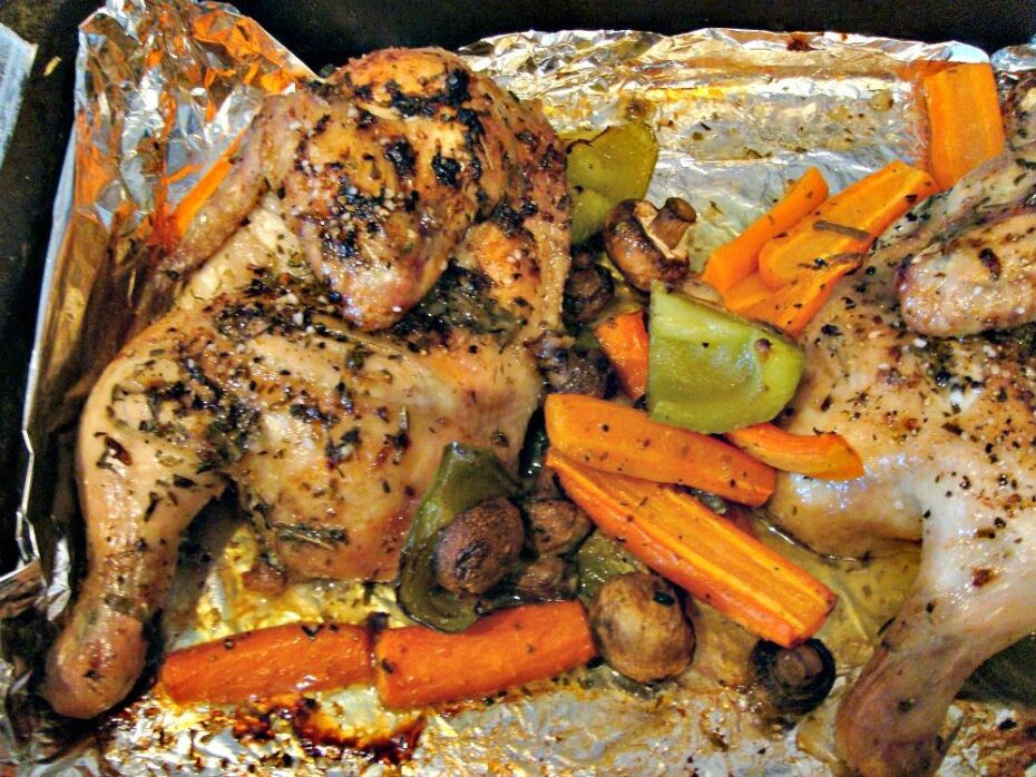 Sheet pan chicken dinner, tasty tray baked roasted chicken portions with vegetables, potatoes, and seasonings, all oven-baked in one pan. A quick easy and simple recipe