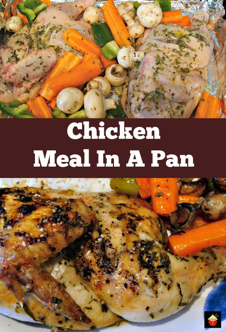 Meal In A Pan - What could be better than only one pan to wash? Yep, a great tasting dinner! Choose your favorite chicken pieces & veggies, add the flavorings and simply bake. | Lovefoodies.com