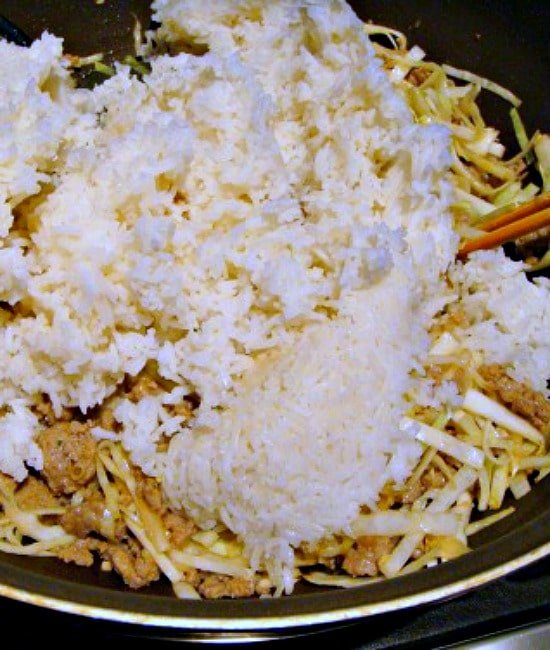 Add the rice to the wok