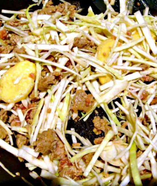 Cook the meat and cabbage until soft to your liking