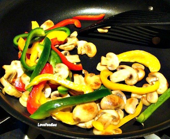 Chicken A La King, fry vegetables