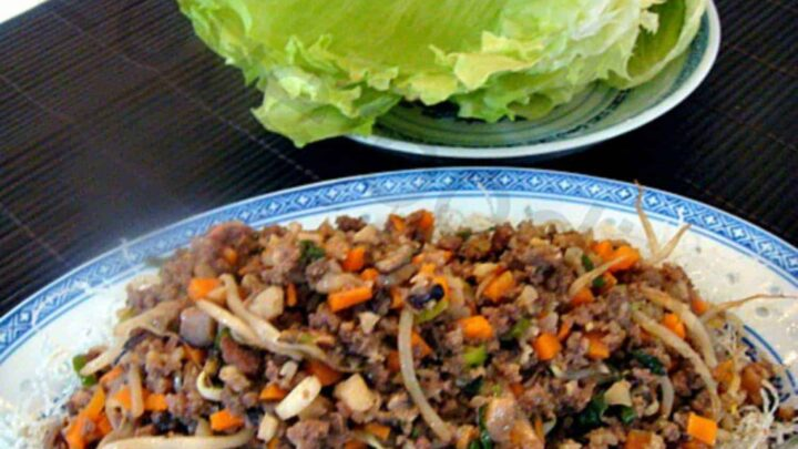 Yuk Sung - Chinese Lettuce Wraps - Inside each lettuce leaf is a little pile of treasures! A great dish to serve as a starter or at parties