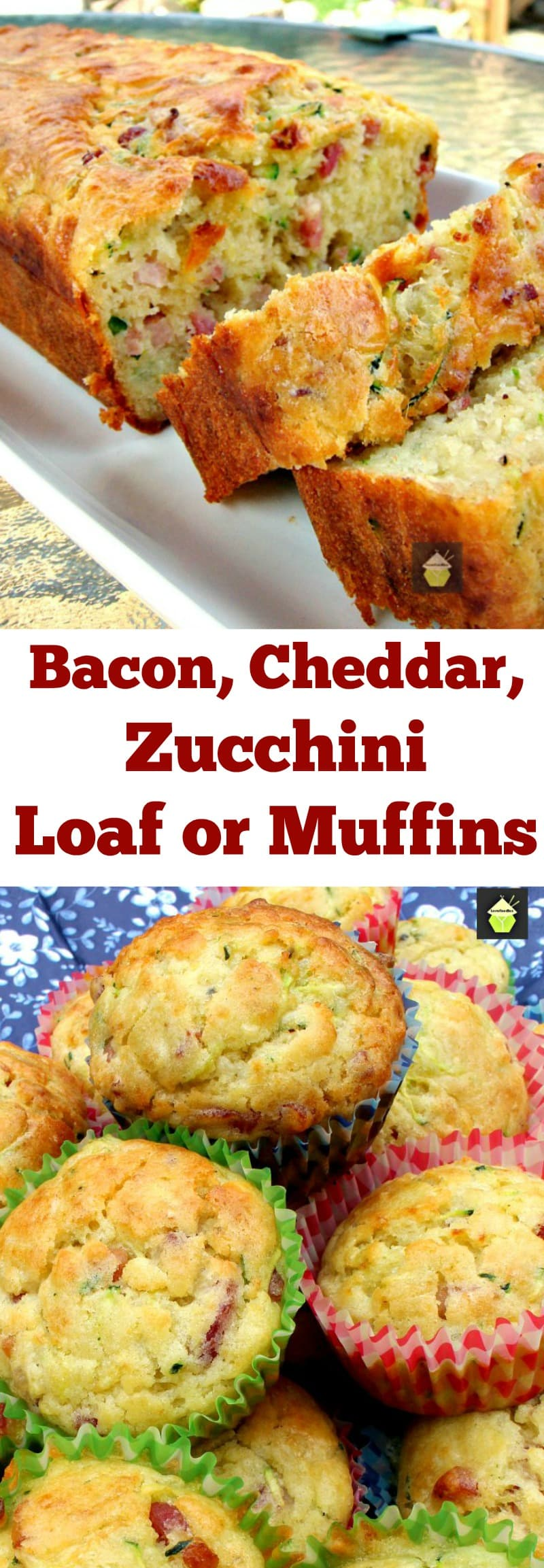 Bacon, Cheddar, Zucchini Loaf Muffins, great for parties, pot lucks and also freezer friendly too! | Lovefoodies.com