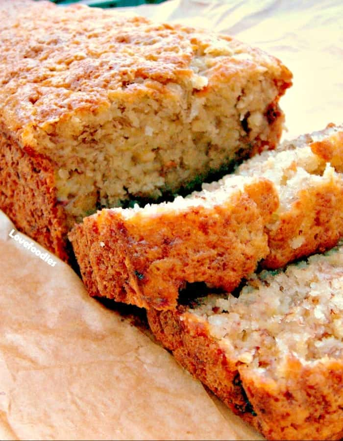 Moist Banana Bread. Great flavors and easy to follow instructions. And yummy of course! | Lovefoodies.com