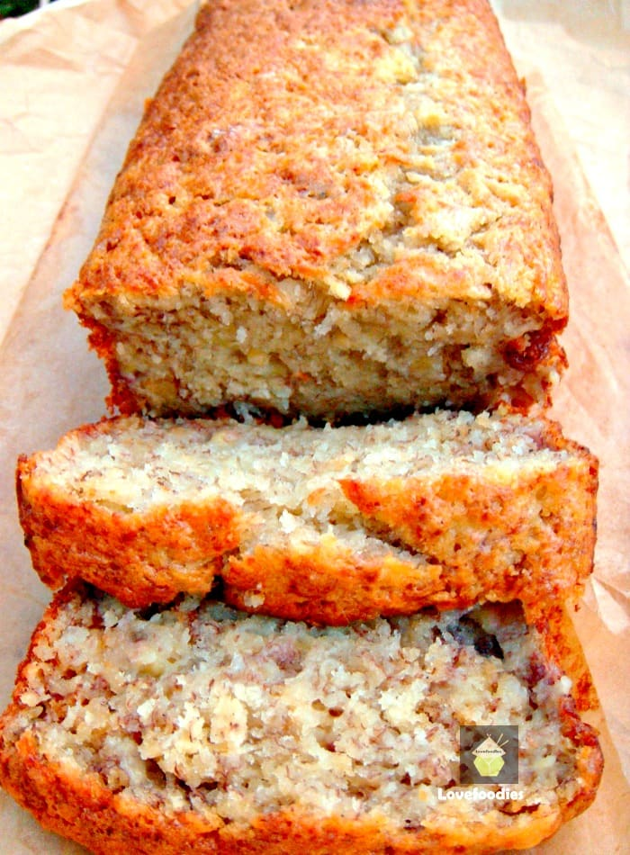The BEST Banana Loaf Pound Cake, super moist, made from scratch recipe with mashed bananas. Great for breakfast, brunch or dessert. Excellent, easy banana cake