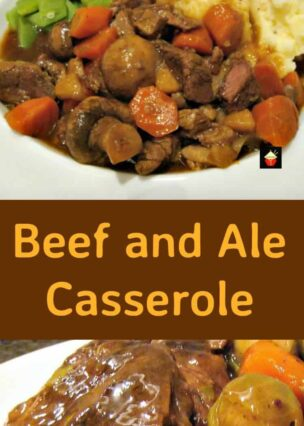 Beef and Ale Casserole. A lovely warming dinner, suitable for oven or slow cooker. The beef takes on a nice flavor and is so very tender!