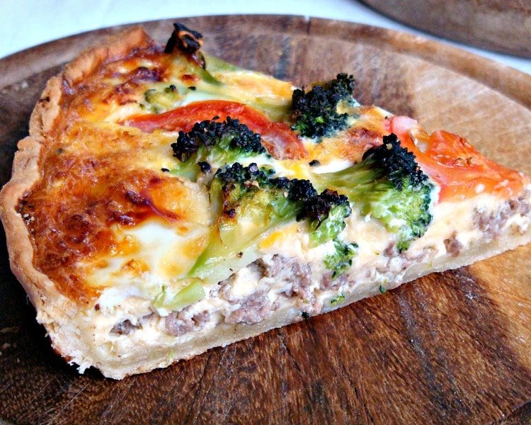 Beef and Broccoli Quiche. A twist on the classic Quiche, with a filling of cheese, beef and broccoli in a crisp pastry case. Delicious served warm with a side salad!
