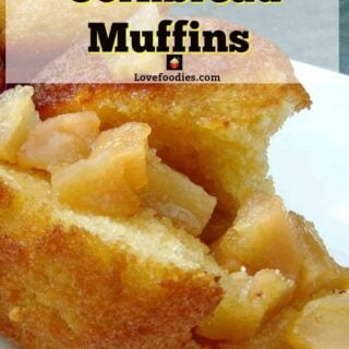 Caramel Pear filled Cornbread Muffins. These are great served warm for breakfast or a dessert with a blob of ice cream ice cream
