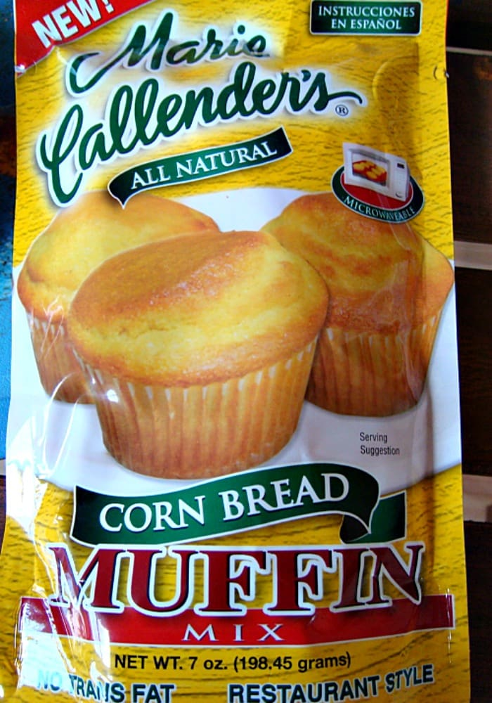 Caramel Pear Cornbread Muffins, showing muffin mix package