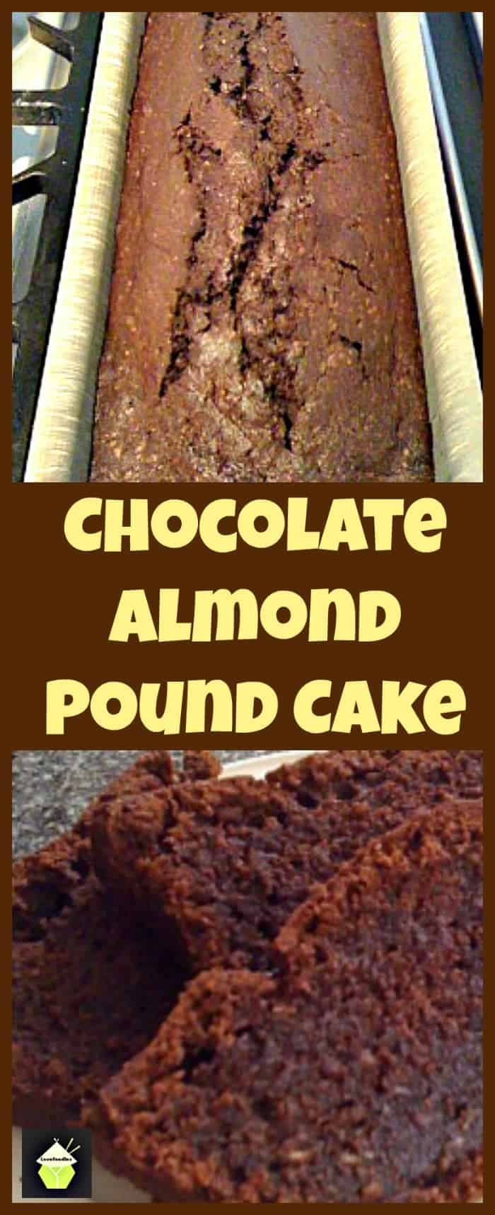 Moist Chocolate Almond Pound Cake. Delicious, rich chocolate cake with added melted chocolate and ground almonds to take this cake to another level of deliciousness!