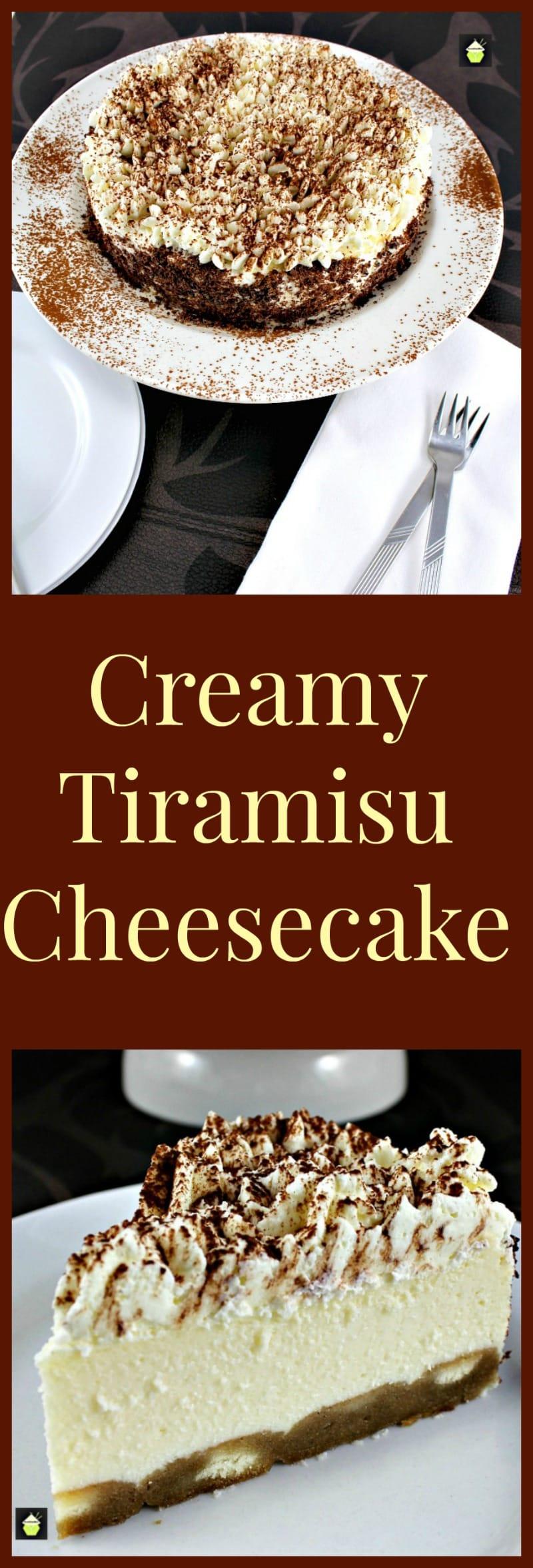 Creamy Tiramisu Cheesecake. This is a lovely dessert with the flavors of the classic Italian Tiramisu. If you like Tiramisu then you will enjoy this! | Lovefoodies.com