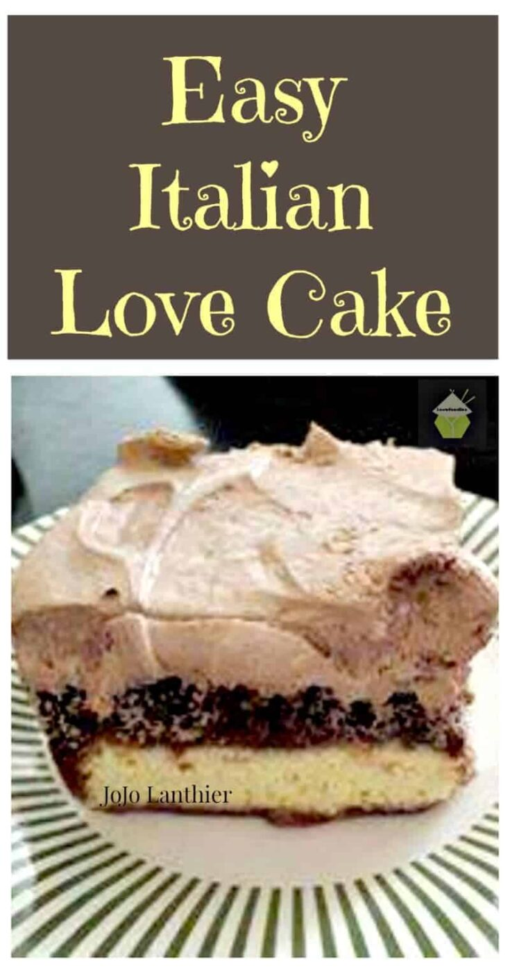 Easy Italian Love Cake. It's incredibly simple to put together. Layers of cheesecake, chocolate cake and a chocolate frosting. Such a delicious dessert.