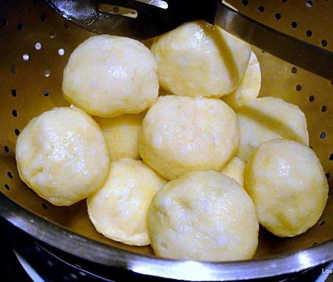 Flavour Dancing Dumplings, Swedish Kroppkakor Dumplings, draining after boiling in pan