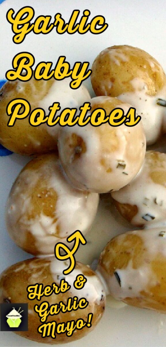 Garlic Baby Potatoes An incredibly easy and quick recipe using tender baby potatoes, in a creamy garlic and herb coating. Delicious served warm and great for outdoor eating too!