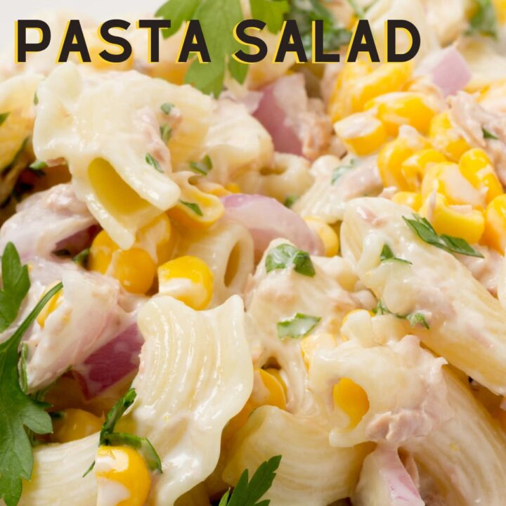 Honey Mustard Chicken Pasta Salad. A delicious, easy chicken salad with an easy honey mustard dressing. Great for using leftover chicken. Serve as a lunch or dinner, alongside a buffet or BBQ