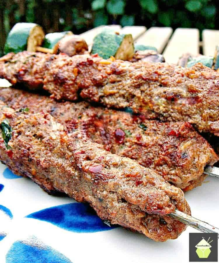 Kebabs With Attitude! These are a spicy, moist meat kebab, full of flavor and perfect for grilling! Herbs and spices take this BBQ recipe to another level.