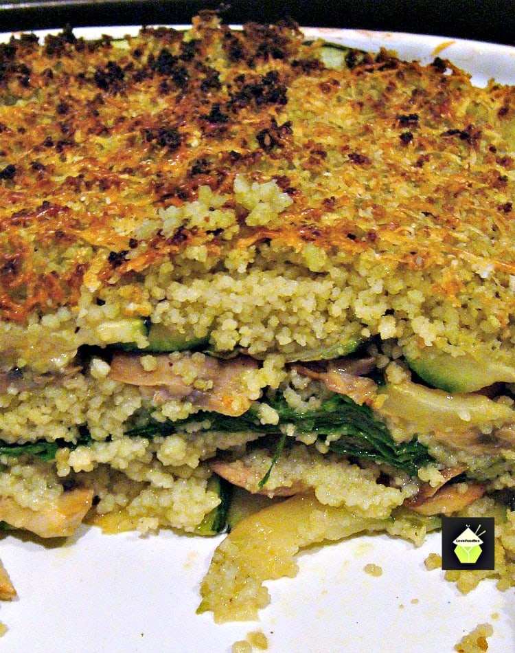 Layered Vegetable Bake An easy and delicious recipe, layers of zucchini, spinach, mushrooms, cous cous and sprinkled with cheese.