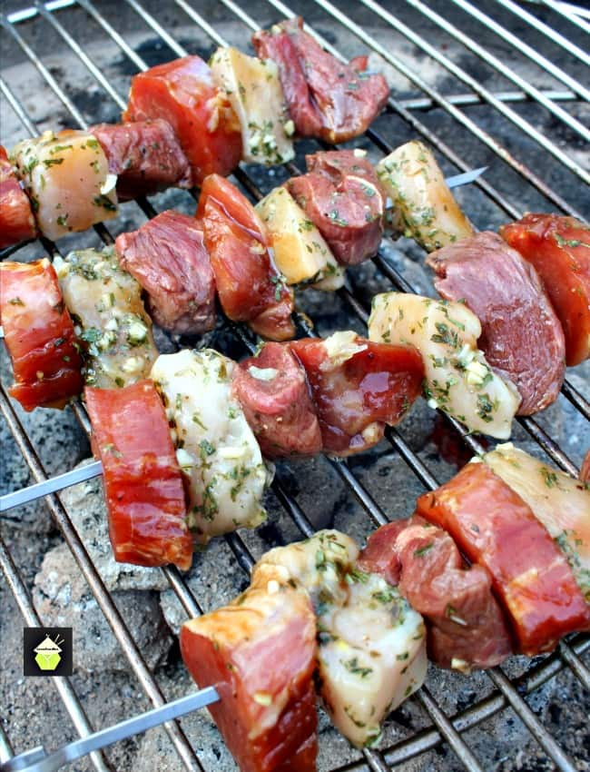 Meat Lovers' Kebabs! A trio of Beef, Pork and Chicken, with lovely marinades, all ready for the grill. This is perfect for any meat lover! | Lovefoodies.com