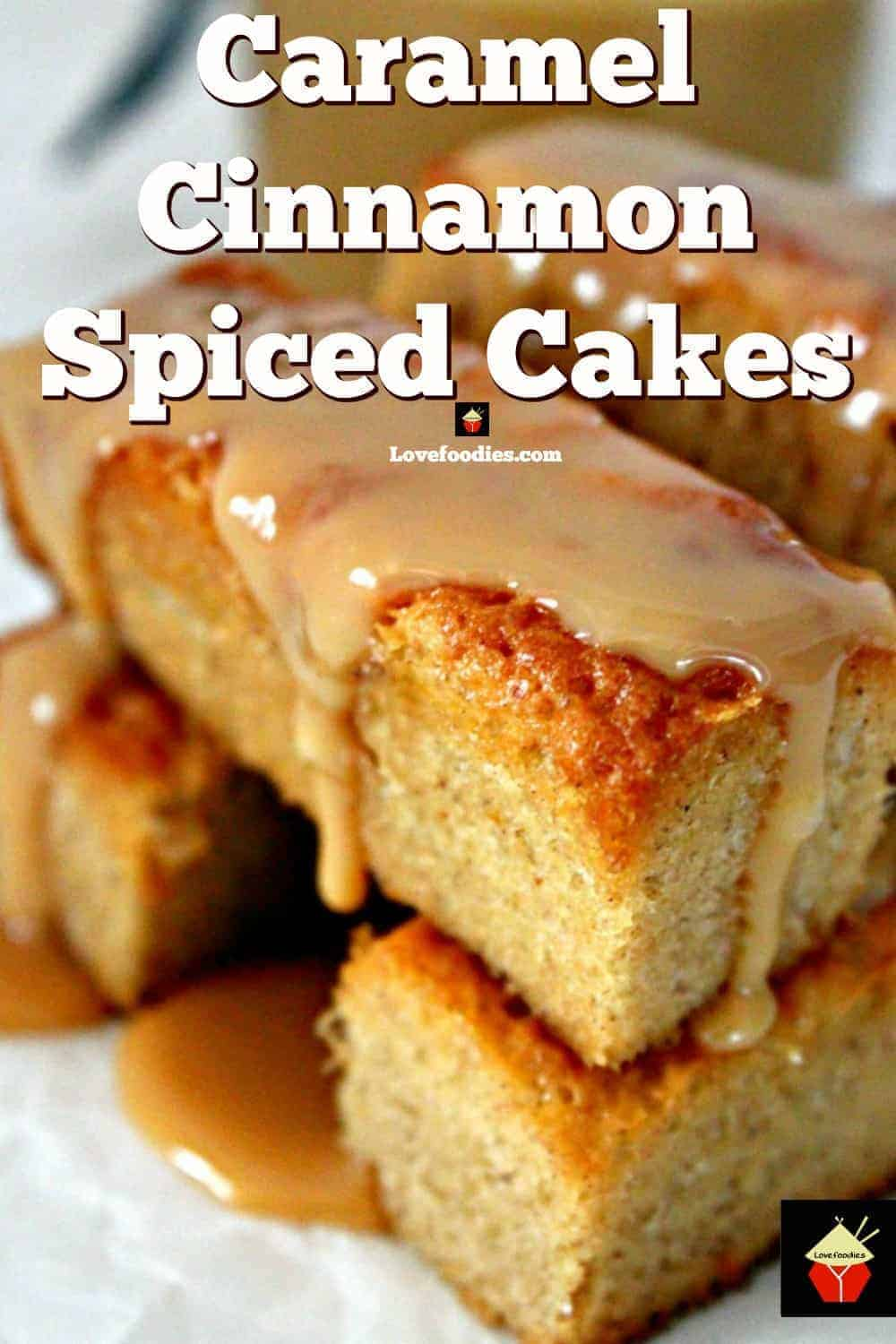 Mini Caramel Cinnamon Spiced Cakes. Soft, fluffy cakes with a hint of holiday spice and drizzled with caramel! Make in a mini loaf pan or cupcake pan