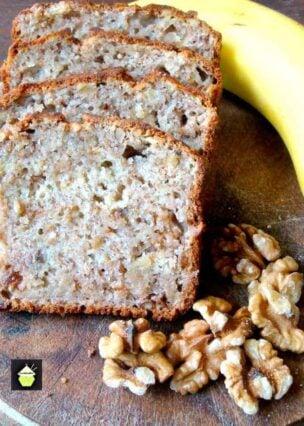 Moist Banana and Walnut Pound Loaf Cake