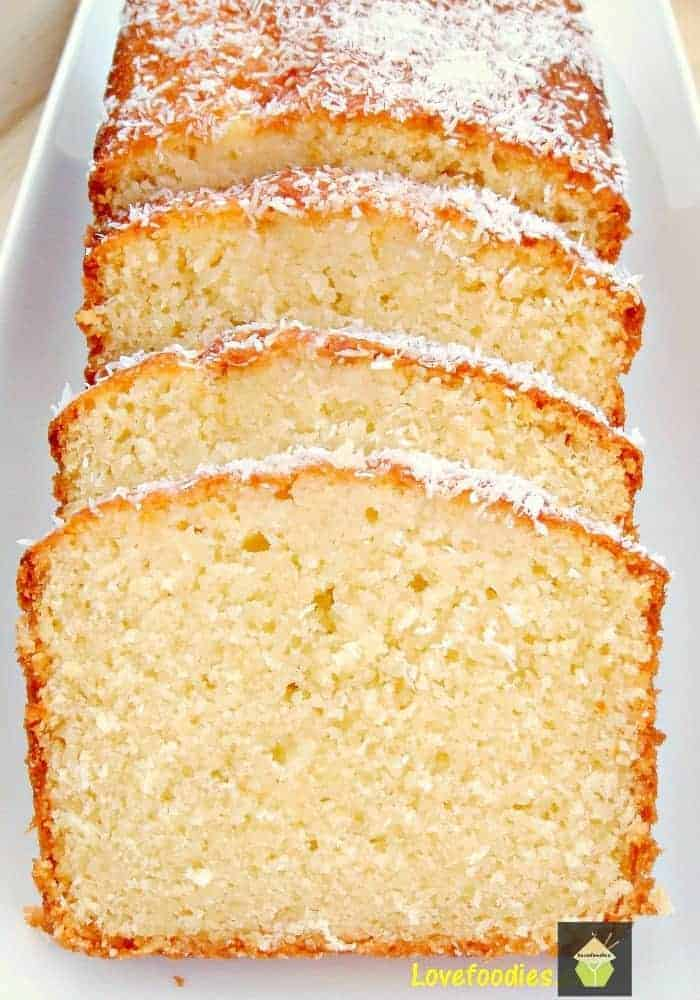 Moist Coconut Pound Loaf Cake. Light, soft, and oh sooooo delicious! | Lovefoodies.com