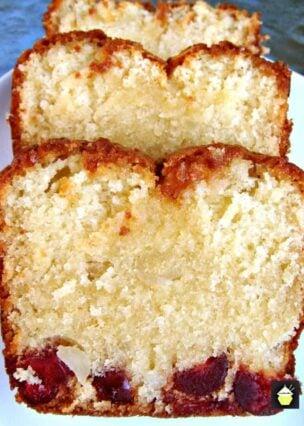 Moist Macadamia and Cherry Loaf Bottom Cake