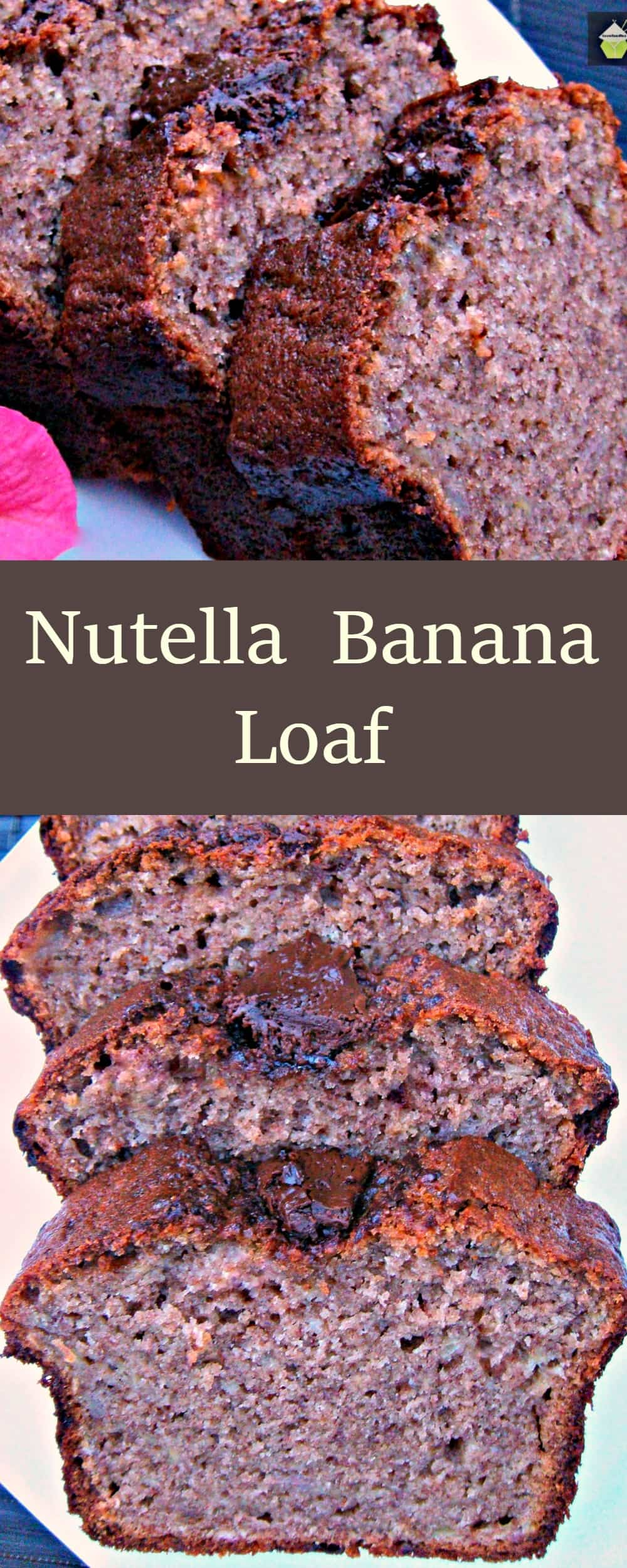 Nutella Banana Loaf. Delicious, soft pound cake with banana and Nutella chocolate. Easy recipe and very popular. Great tasting cake #cake #Nutella #chocolate