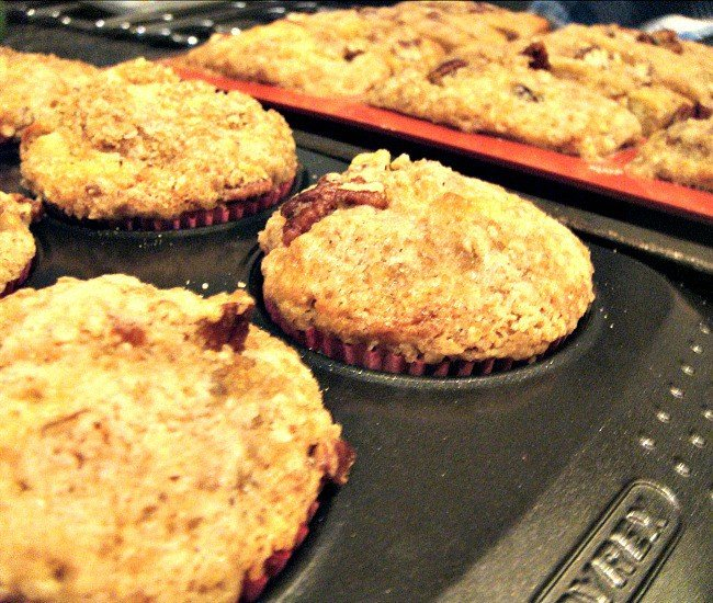 Pecan and Banana Streusel Cakes