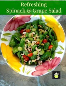Refreshing Spinach & Grape Salad with a delicious dressing! A wonderful tasting salad high in Vitamins and Minerals. Options to also add Apple and Bacon. Always a nice combination!