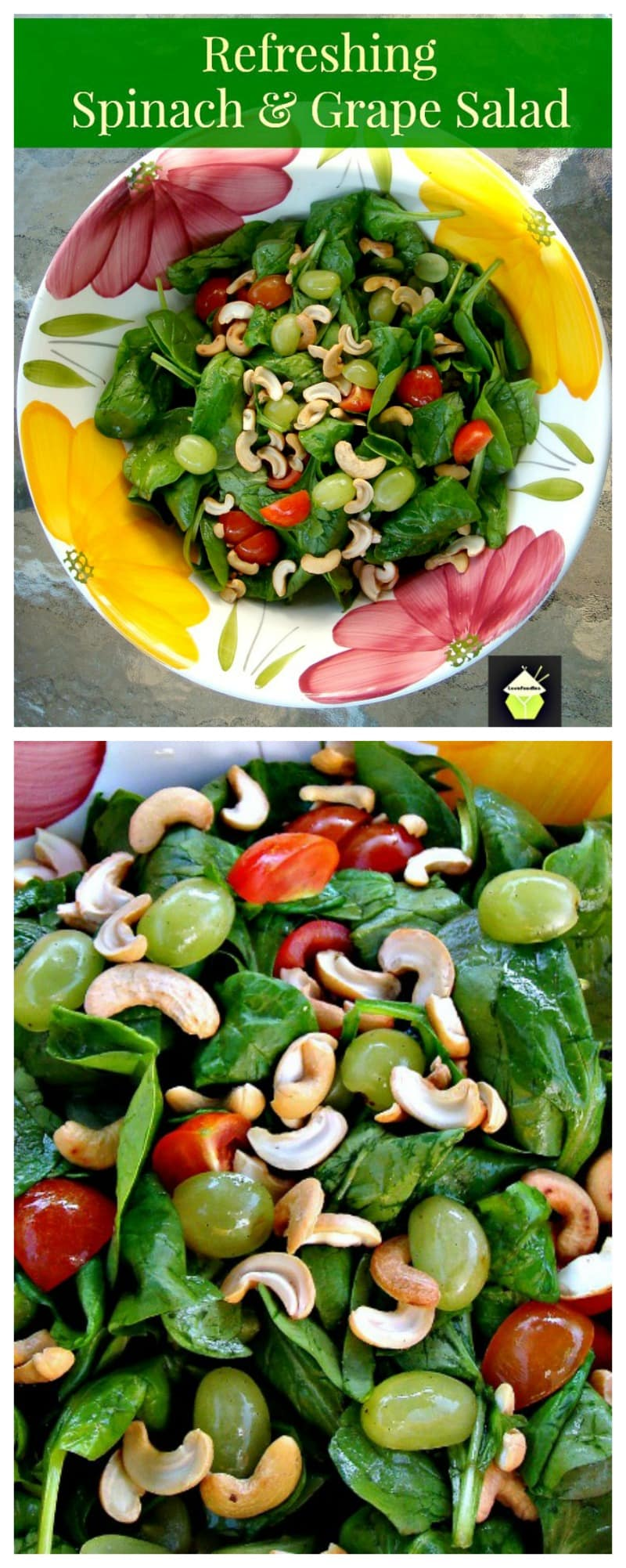Refreshing Spinach & Grape Salad with a delicious dressing! A wonderful tasting salad high in Vitamins and Minerals. Options to also add Apple and Bacon. Always a nice combination! | Lovefoodies.com