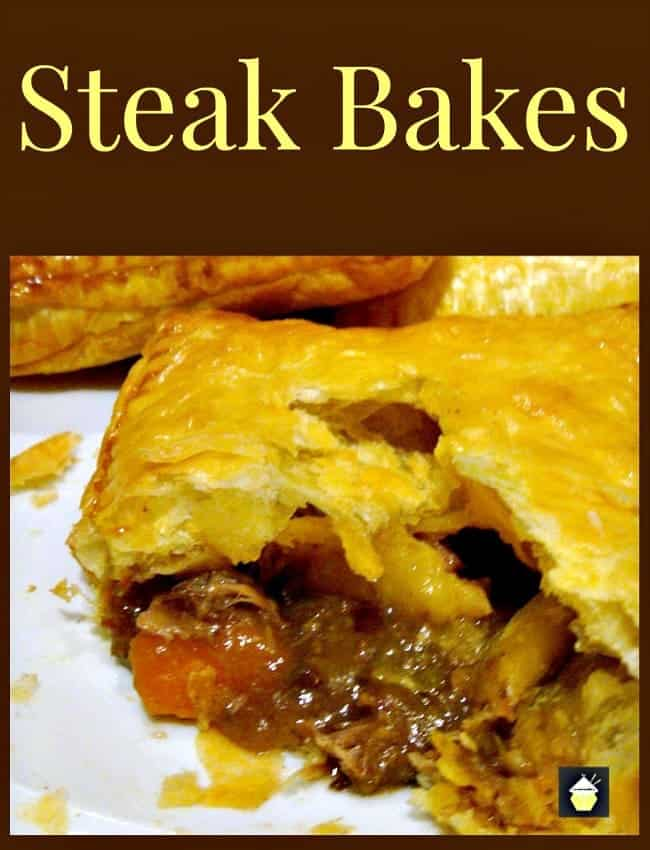 Steak Bakes (like Savory hand pies!). Delicious mini puff pastry pies using leftover fillings from your pot roasts, casseroles and roast dinners! Really easy to make and great for lunches or as part of a dinner
