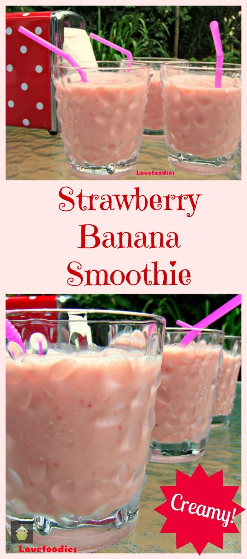 Easy Creamy Strawberry Banana Smoothie. Tastes just like milkshake but without the cream or ice cream! Delicious!