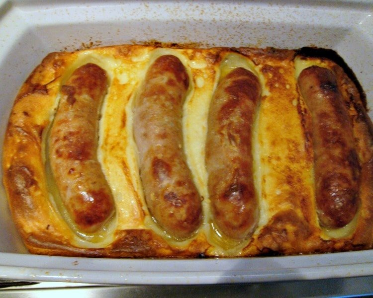 British Toad in the Hole showing cooked appearance