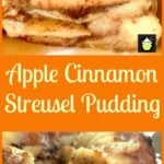 Fluffy Apple Streusel Swirl Pudding - A wonderful bread and butter dessert, best served warm with a drizzle of Maple Syrup or a blob of ice cream..or both! Similar to French Toast only much fluffier. | Lovefoodies.com