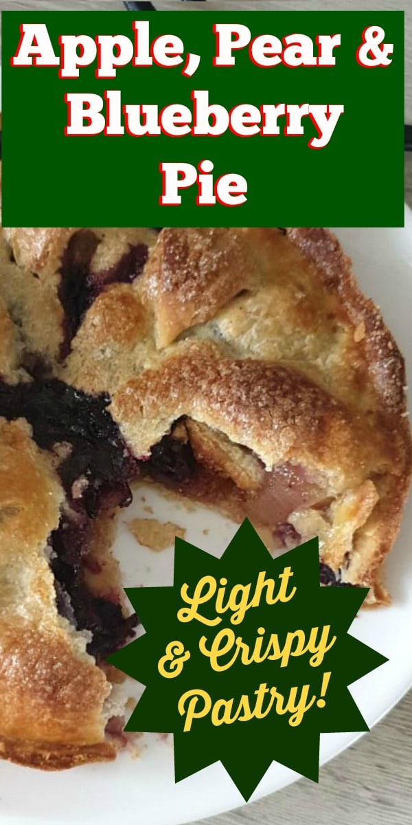 Apple, Pear and Blueberry Pie. A delicious made from scratch homemade fruit pie recipe, using a variety of fruits leftover. Easy to follow instructions to make your own pastry