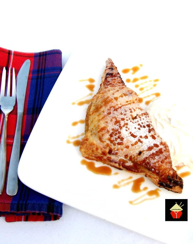 EASY APPLE SPICED TURNOVERS.. Delicious warm from the oven! Crispy puff pastry packed with apples coated in cinnamon. Delicious eaten warm or chilled with a blob of ice cream too! Easy recipe, budget friendly and freezable.
