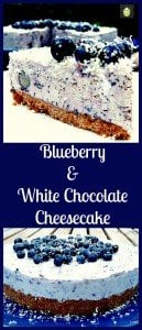 Blueberry and White Chocolate Cheesecake. An easy No Bake dessert with bursts of blueberries and a hint of white chocolate in every bite. Delicious!