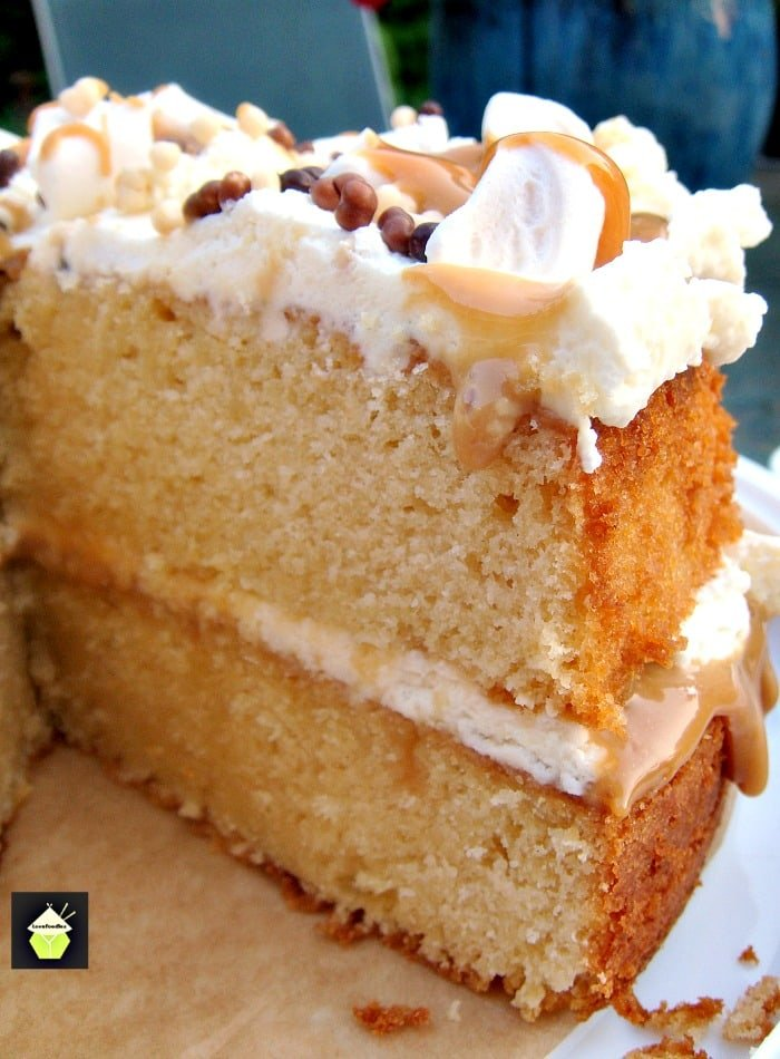 Caramel Marshmallow Cake, soft, moist cake recipe, with caramel and marshmallows and topped with a fresh whipped cream frosting. Great for celebrations, parties and dessert