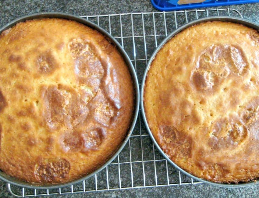 Caramel Marshmallow Cake, cakes cooling