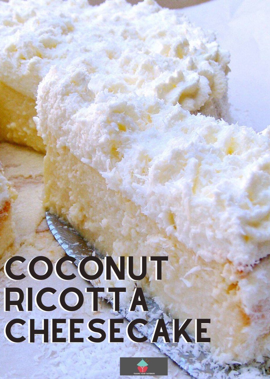 Coconut Ricotta Cheesecake. A wonderful fluffy, soft & creamy baked coconut cheesecake, out of this world! Tips on how to avoid cheesecake cracking included in the recipe