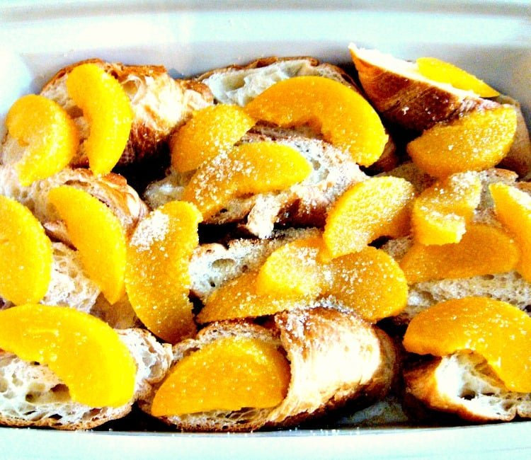 Peach Croissant Bread Pudding, arranging layers